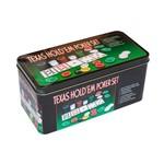 Kit Jogo de Poker 200 Fichas Baralhos Botões Feltro Toalha