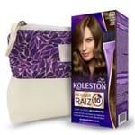 Kit Koleston Retoque de Raiz 60 Louro Escuro + Necessaire Estampa Gota