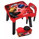 Kit Ladybug Conjunto Mesa com Cadeira e Massinha com 2 Potes - Fun Divirta-se