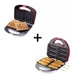 Kit Lanche Crepeira + Máquina Waffle Cadence Vermelho 127 V