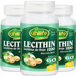 Kit 3 Lecitina de Soja 1200mg Unilife 60 Cápsulas