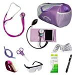 Kit Lilas para Enfermagem P.A.MED Completo com Esfigmo N18