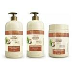 Kit Litrão Umectante Óleo de Coco Bio Extratus Shampoo , Condicionador e Banho de Creme 1 Litro