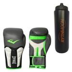 Kit Luva Boxe Elite Prime Everlast Preta com Verde 16 Oz + Squeeze Automático 1lt