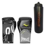 Kit Luva Boxe Elite Pro Style Everlast Preta 08oz + Squeeze Automático 1lt