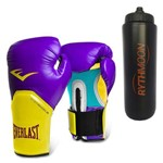 Kit Luva Boxe Elite Pro Style Roxo/amarelo Everlast 14oz + Squeeze Automático 1lt