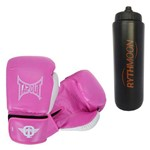 Kit Luva Boxe / Muay Thai Tapout Rosa 14oz + Squeeze Automático 1lt