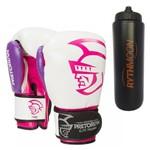 Kit Luva de Boxe Pretorian Elite 10OZ Rosa + Squeeze Automático 1lt