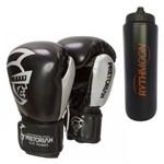 Kit Luva de Boxe Pretorian Elite 14OZ Preta + Squeeze Automático 1lt