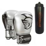 Kit Luva de Boxe Pretorian Elite 16OZ Silver + Squeeze Automático 1lt