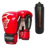 Kit Luva de Boxe Pretorian Elite 12OZ Vermelha + Squeeze Automático 1lt