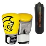 Kit Luva de Boxe Pretorian Training Amarelo e Preto 16oz + Squeeze Automático 1lt
