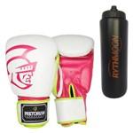 Kit Luva de Boxe Pretorian Training Branco e Pink 14oz + Squeeze Automático 1lt