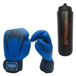 Kit Luva Giant Brasil 16oz Venum Azul + Squeeze Automático 1lt