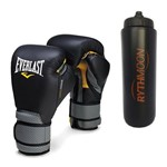 Kit Luva Profissional de Couro Everlast 14oz + Squeeze Automático 1lt