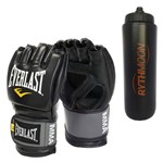 Kit Luva Treino MMA Everlast Preta S/M + Squeeze Automático 1lt
