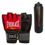 Kit Luva Treino MMA Everlast Vermelha L/XL + Squeeze Automático 1lt