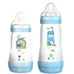 Kit 2 Mamadeiras Mam First Bottle 260ml+ 320ml Azul (4663+4677)