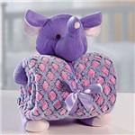 Kit Manta Baby com Bichinho de Pelúcia Microfibra Elefante