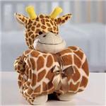Kit Manta Baby com Bichinho de Pelúcia Microfibra Girafinha