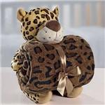 Kit Manta Baby com Bichinho de Pelúcia Microfibra Leopardo
