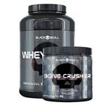 Kit Massa Muscular Black Skull 2(Whey Protein Isolado WHEY ZERO - 2lbs 909grs + Pré Treino BONE CRUS