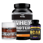 Kit Massa Muscular Whey + Bcaa Creatina Unilife Kit Massa Muscular Whey + Bcaa + Creatina Unilife