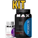 Kit Max Titanium Top Whey 3w 900g Chocolate + Bcaa 2400mg 100 Caps