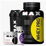 Kit Max Titanium - Whey Pro + Creatine + BCAA 2400 + Coq.
