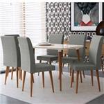 Kit Mesa de Jantar 170 X 90 Pés Palito Off White + 6 Cadeiras Almofadadas Cinza