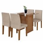 Kit Mesa de Jantar Marrom Claro 120 X 80 Cm com 4 Cadeiras Estofadas Bege