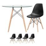 KIT - Mesa Eames 90 Cm - Tampo de Vidro + 4 Cadeiras Eames Eiffel DSW - Preto