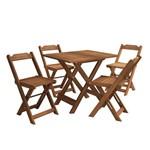 Kit Mesinha de Madeira para Bar Mais 4 Cadeiras Dobráveis