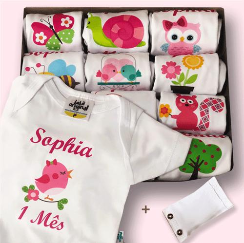 Kit Mesversário Bichinhos da Floresta com Nome + Extensor de Body 100% Algodão- Personalize o Nome do Bebê