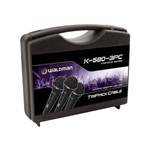 Kit Microfone com Fio Linha Karaoke K-580-3pc (3 Peças) - Waldman