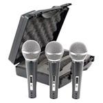 Kit 3 Microfones CSR HT48A-3 Dinâmico Uni-Direcional com Case
