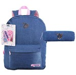 Kit Mochila de Costas + Necessarie Patches Jeans Capricho - Dermiwil G