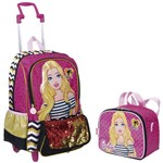 Kit Mochila de Rodinhas Barbie 19z + Lancheira Térmica Rosa