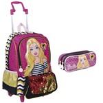 Kit Mochila de Rodinhas Barbie 19z Paetê + Estojo Rosa