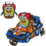 Kit Mochila Escolar 3D com Rodinhas Bob Esponja F1 + Lancheira - Maxtoy