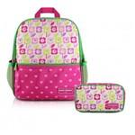 Kit Mochila Escolar Infantil Menina com Estojo Flor Pink- Sapeka Jacki Design