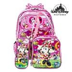 Kit Mochila Escolar Infantil Rodinhas Minnie Mouse Rosa