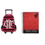 Kit Mochila Flamengo Rodinhas + 1 Caderno Flamengo 96 Folhas Foroni