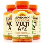 Kit 3 Multi A-Z Mix de Vitaminas e Minerais Sundown 120 Cápsulas