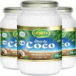 Kit - 3 Óleo de Coco Extra Virgem Unilife 500ml