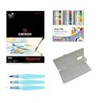 Kit Papel Canson Aquarela + Aquarela Pentel 24 Cores + Godê + Pentel Kit Pinceis