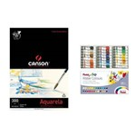 Kit Papel Canson e Tinta Aquarela Pentel Tubo - 24 Cores