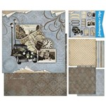 Kit Papel Scrap Decor Litoarte KSD-001 30,5x30,5cm 6 Folhas Sortidas Vintage Man, Carro