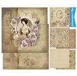 Kit Papel Scrap Decor Litoarte KSD-004 30,5x30,5cm 6 Folhas Sortidas Mulher e Rosas Vintage
