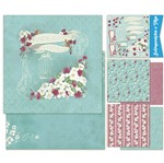 Kit Papel Scrap Decor Litoarte KSD1-002 Dupla Face 30,5x30,5cm com 6 Folhas Sortidas Shabby Chic Flor Branca By Lili Negrão